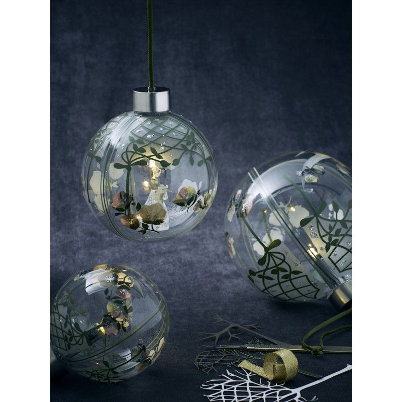 Large led light up flower lady glass bauble by jette fr for Large christmas baubles for outside