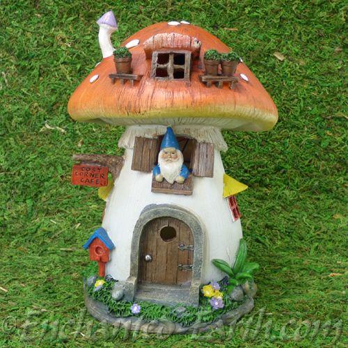 Large Solar  LED Gnome Toadstool Cottage  21cm .