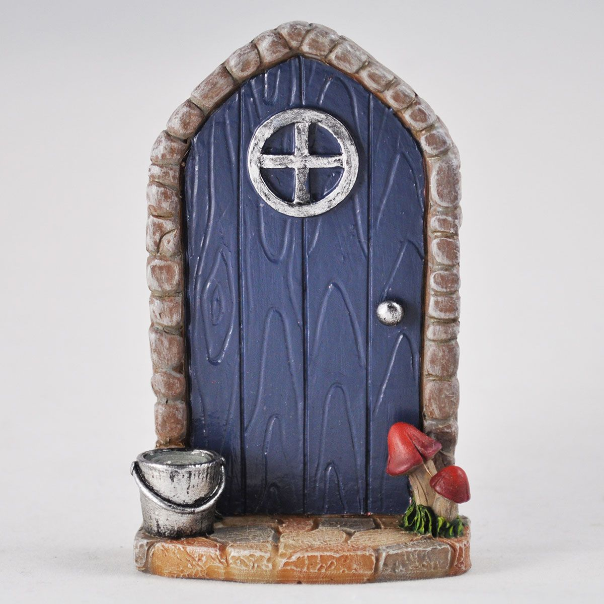 Mini arched navy fairy door with a garden bucket for Mini fairy door
