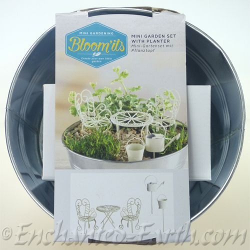 Miniature Garden Gift Set   With Zinc Planter U0026 5 Items