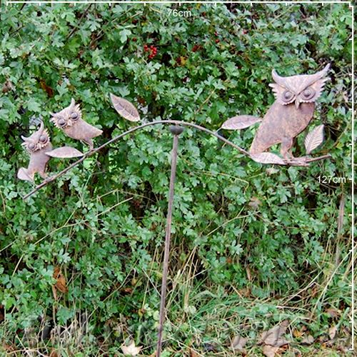 The Metal Garden Balancing Owls Garden Stake
