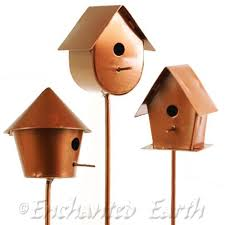 Fiddlehead Fairy Garden Copper Bird House ( 3 styles to choose from).