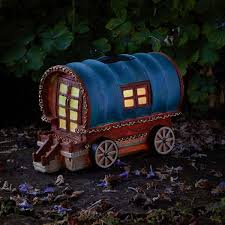 Gypsy Rose Caravan - Solar - LED Colour changing Fairy House .