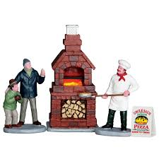 Lemax Village Collection - Outdoor Pizza Oven - set of 4 -Battery Operated.