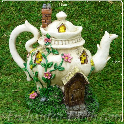 Light Up Teapot Cottage Country Garden Fairy House 18cm