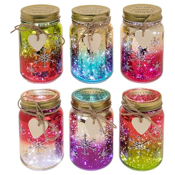 Metallic Christmas Snowflake Fire Fly LED Light,Up Jar