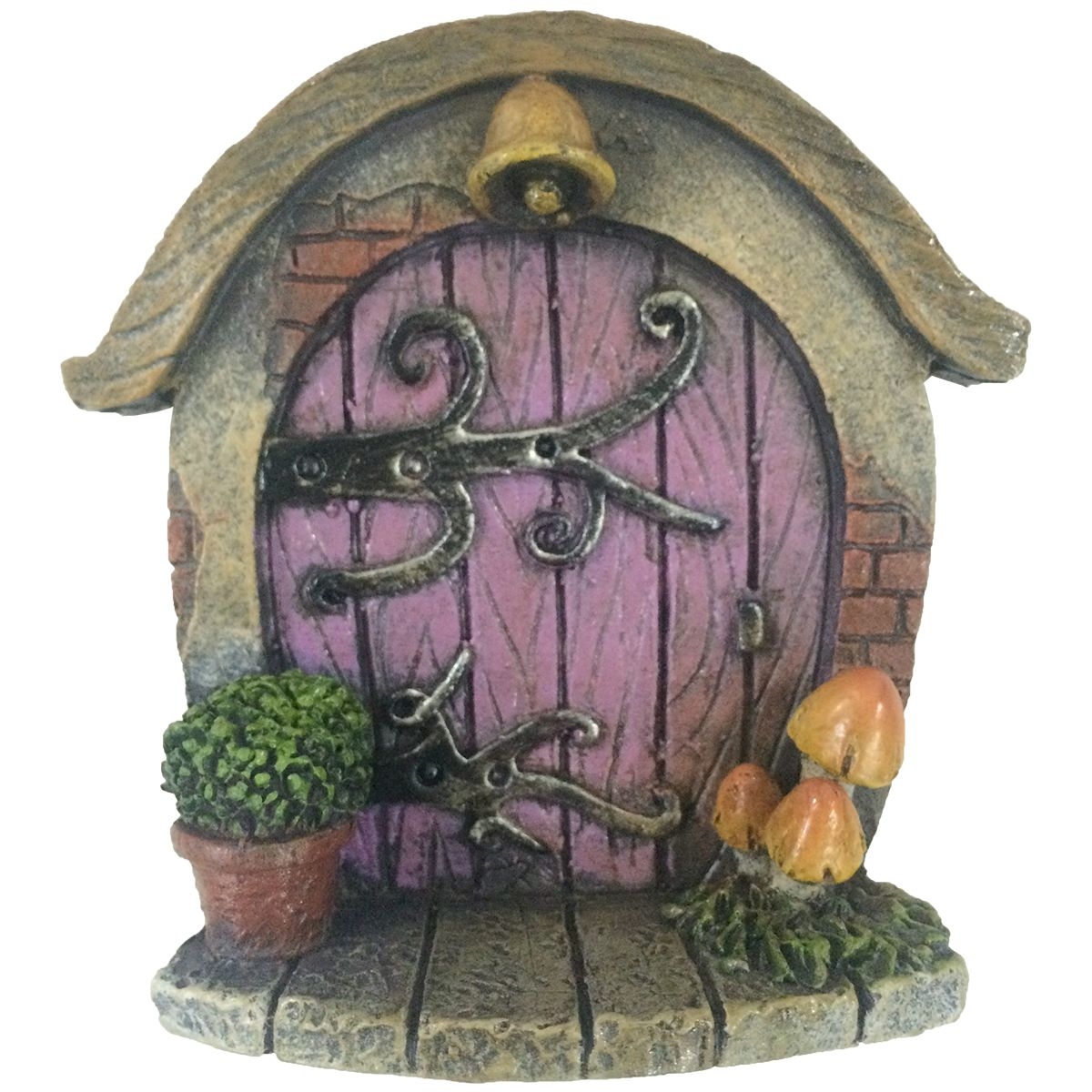 Mini Round Purple Fairy Door With Bell Toadstools