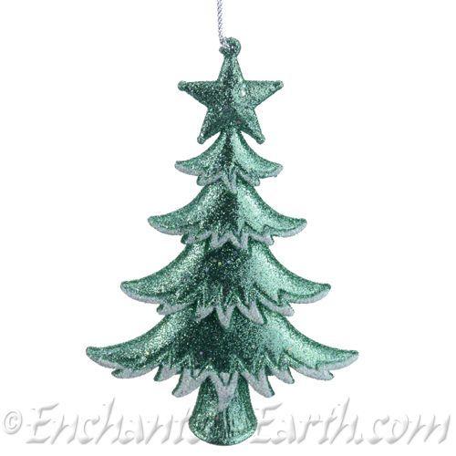 mint green glitter christmas tree decoration