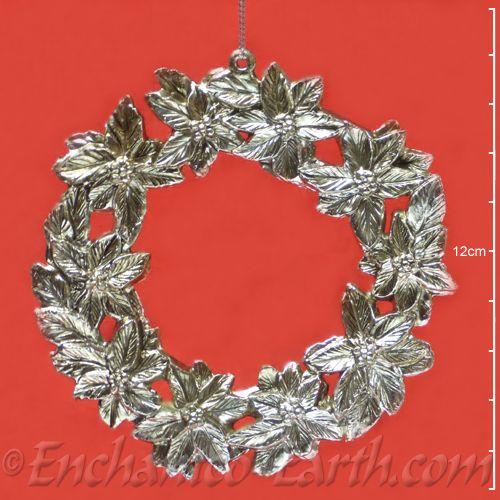 Pewter Effect Christmas Wreath Hanger Poinsettia Decoration 11cm